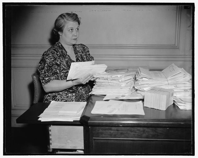 Mrs. Elmer Andrews, wife of the Wage Hour Administrator with hundreds of letters asking for jobs