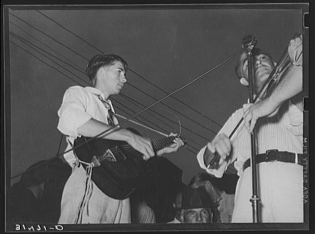 Musicians in cajun band contest. National Rice Festival, Crowley, Louisiana