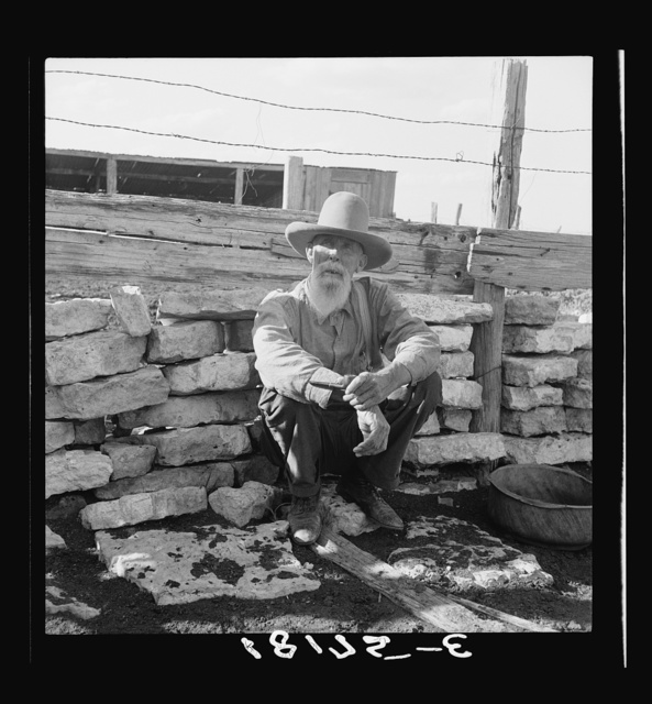 "Native Texas tenant farmer. Near Goodliet, Texas. Aged seventy; seventeen years on the same farm. Is to be ""tractored out"" at the end of 1938. One son has been tractored out and has been on WPA (Work Projects Administration) for two years. Another son was tractored out in 1937. Has moved to town and remains temporarily off relief by selling his livestock. ""What are my boys going to do? It's not a question of what they're going to do. It's a question of what they're going to have to do. They're not any up there in Congress but what are big landowners and they're going to see that the program is in their interest. As long as the government is paying the landowner more to let the land out than they make by renting it, they won't rent it."""