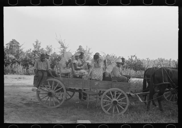 Negro clients arriving in wagon at meeting, Southeast Missouri Farms.