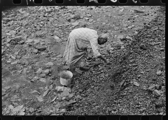 """Negro woman picking up coal from old slate heaps in mining community. The """"Patch,"""" Cassville, West Virginia"""