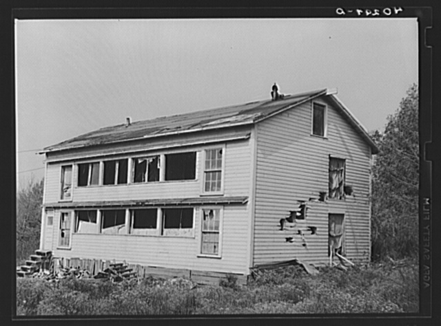New England hurricane. Chicken house damaged by the debris from a second chicken house which was demolished between Worcester and Amherst, Massachusetts