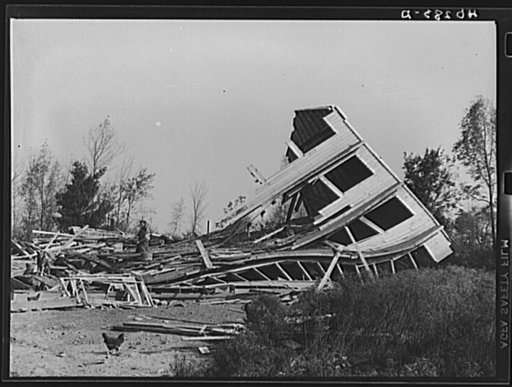 New England hurricane. Chicken house near Worcester, Massachusetts