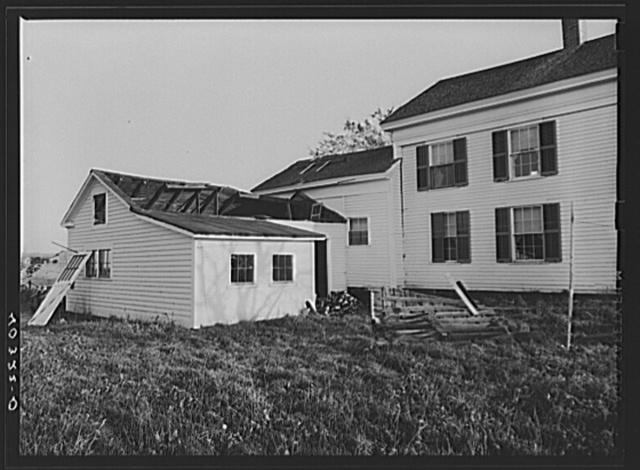 New England hurricane. Damaged farm house garage near Hartford, Connecticut