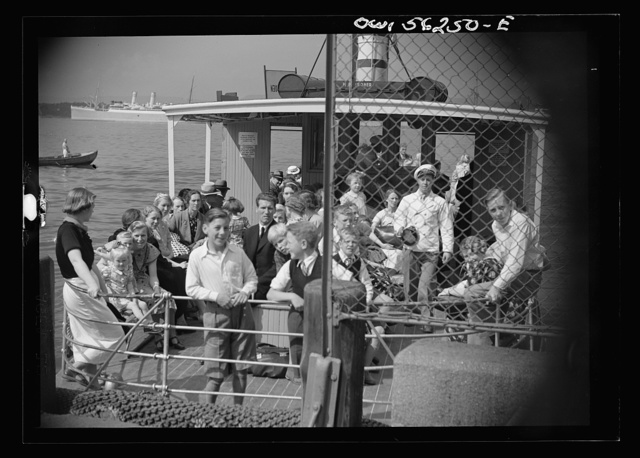 Olso, Norway. Stern deck of a small ferryboat in the harbor