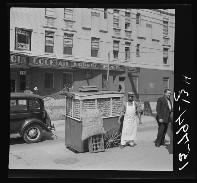 Peanut wagon on Lenox Avenue and 133rd Street, New York City