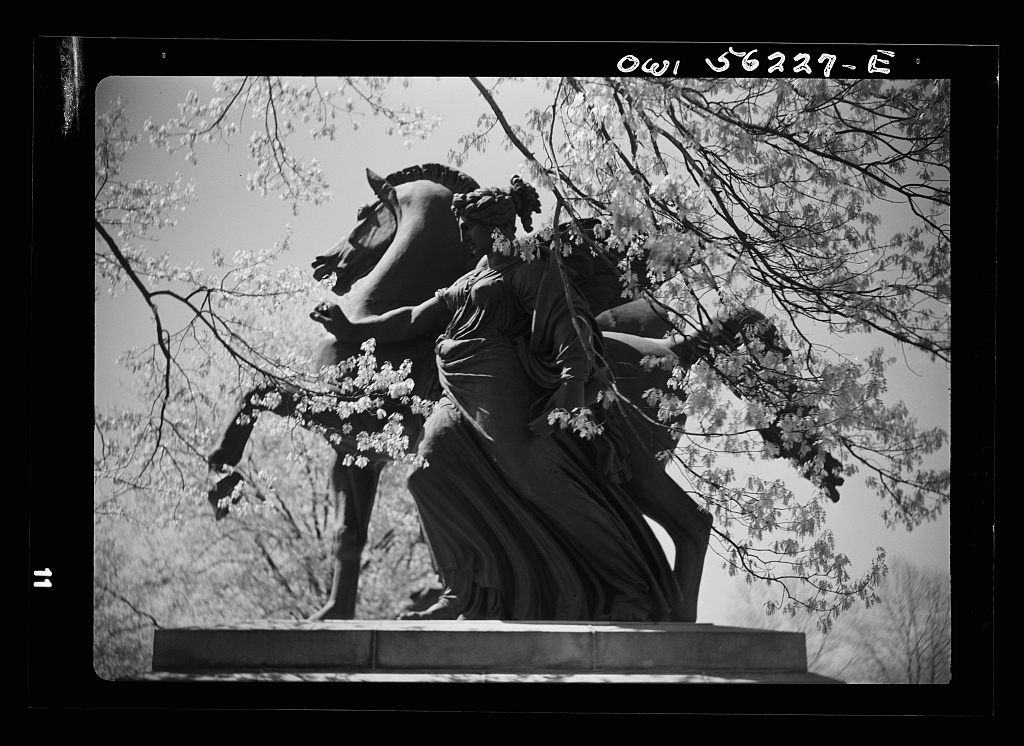 Philadelphia, Pennsylvania. Monumental figure at the entrance to Memorial Hall in Fairmont Park. These figures were cast for the opera house in Vienna