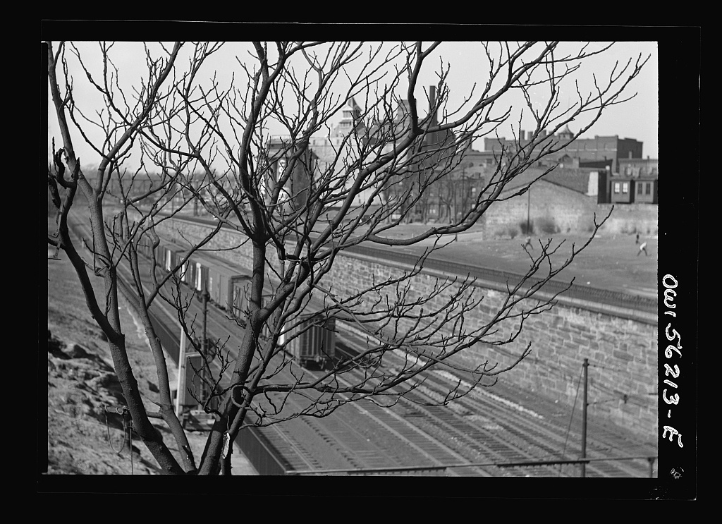 Philadelphia, Pennsylvania. Reading Railroad tracks with an abandoned brewery in the background