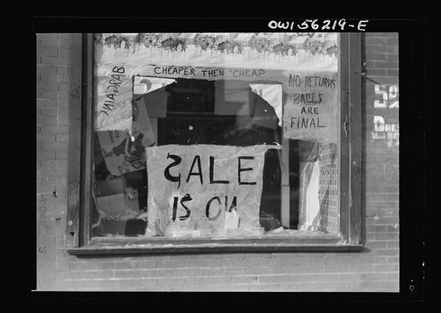 Philadelphia, Pennsylvania. Window of a small store in West Philadelphia