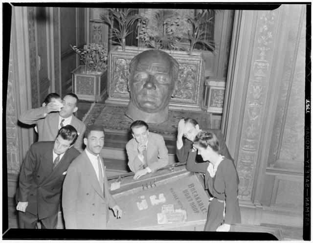 [Portrait of Henry Allen, Joe Marsala, Teddy Wilson, Nesuhi Ertegun, Ahmet M. Ertegun, and Adele Girard, Turkish Embassy, Washington, D.C., between 1938 and 1948]