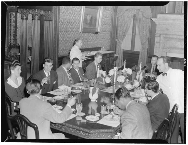 [Portrait of Nesuhi Ertegun, Adele Girard, Joe Marsala, Zutty Singleton, Max Kaminsky, Ahmet M. Ertegun, Sadi Coylin, and Benny Morton(?), Turkish Embassy, Washington, D.C., between 1938 and 1948]