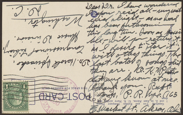 Postcard from Pearl R. Nye to Harold Spivacke, October 25, 1938