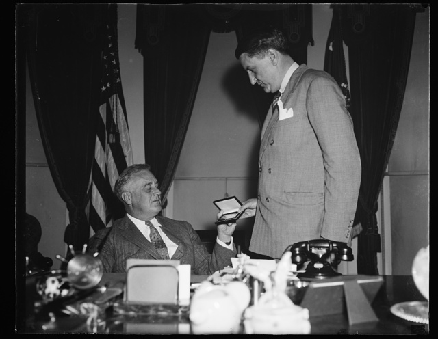 PRESIDENT GETS GOLD SEASON PASS FOR WASHINGTON PROFESSIONAL FOOTBALL GAMES. WASHINGTON, D.C. SEPTEMBER 17. PRESIDENT ROOSEVELT TODAY RECEIVED FROM GEORGE MARSHALL, PRESIDENT OF THE WASHINGTON REDSKINS PROFESSIONAL FOOTBALL TEAM, A GOLD SEASON PASS FOR THE REDSKINS GAMES IN THE CAPITAL