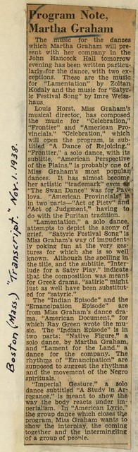 Program Note, Martha Graham
