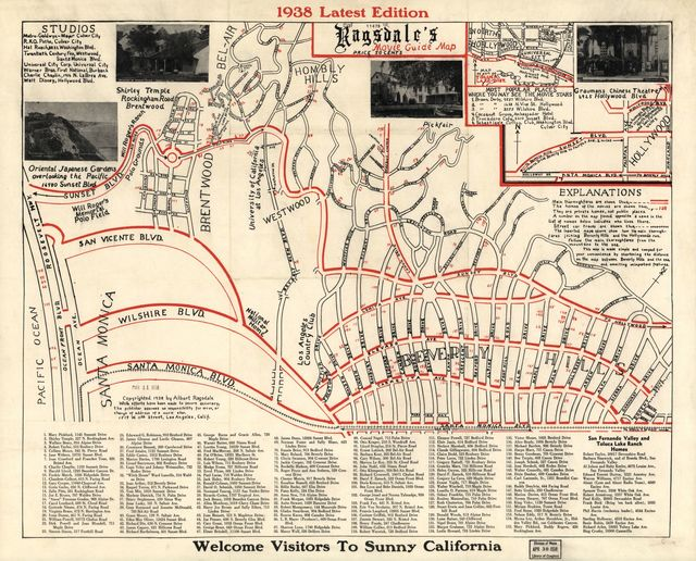 Ragsdale's movie guide map : 1938 latest edition /