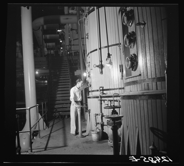 Reading the gauges on the boilers in a sugar refinery near Ponce ...