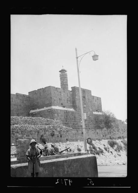 Result of terrorist acts & government measures. Army controlling traffic near Citadel, July 8, 1938, machine gun in place [Jerusalem]