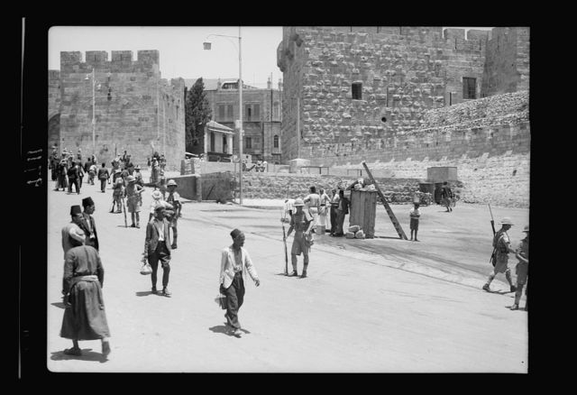 Result of terrorist acts & government measures. Army controlling traffic near Citadel, July 8, 1938, looking through Jaffa Gate