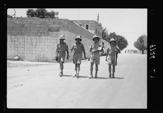 Result of terrorist acts & government measures. British soldiers patrolling Nablus main street