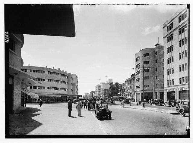 Result of terrorist acts & gov't measures. Haifa. Kings Way in Haifa.