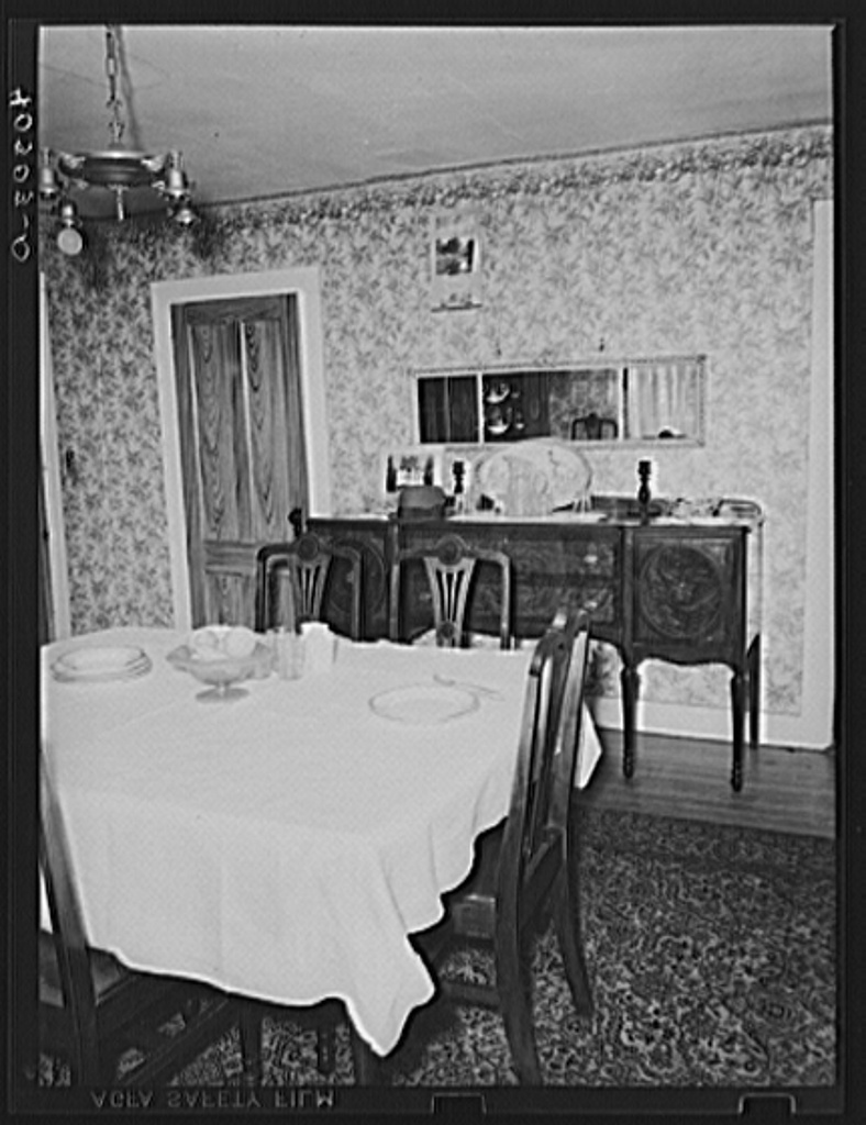 Rockville, Tolland County, Connecticut. The dining room in the house on the farm of John Schneider. Mr. Schnieder suffered from the hurricane, and is a FSA (Farm Security Administration) client