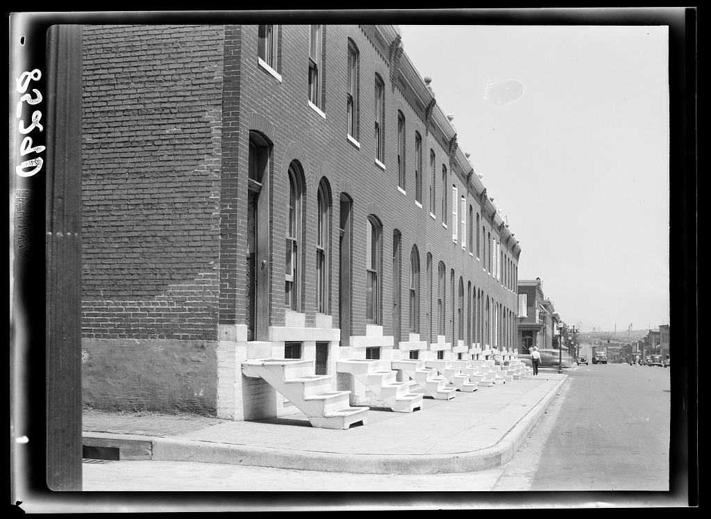 Row houses with white steps. Baltimore, Maryland