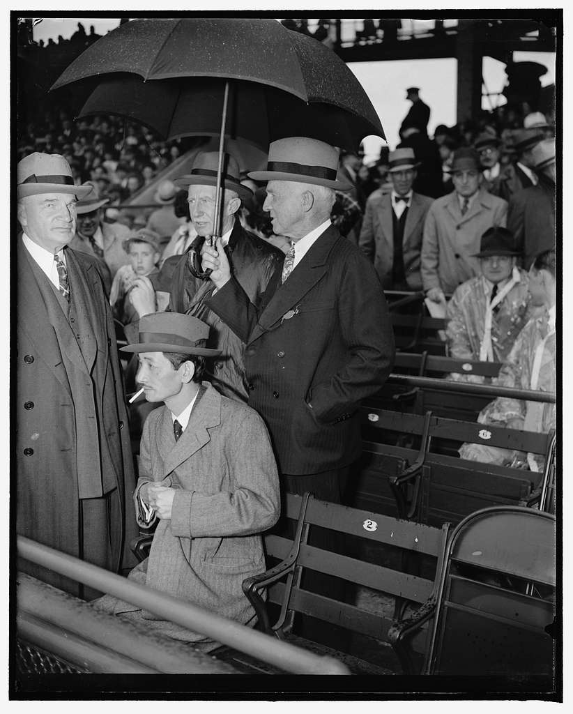 See season's opener. Washington, D.C., April 18. Precedence and politics were off their mind today as the nation's lawmakers, government officials, and diplomats attended today's opening game of the 1938 baseball season between the Washington Senators and the Philadelphia Athletics. Here we see, left to right: J.J. Pelley, President of the Association of American Railroads; Japanese Ambassador Saito, Senator Frederick Hale, of Maine; and William Julian, U.S. Treasurer, 41838