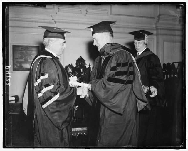 Sen. Edw. Burke receiving degree at Amer. Univ., June 1938