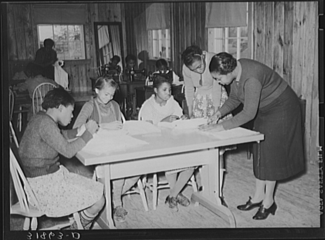 Sewing lesson in school. Lakeview Project, Arkansas