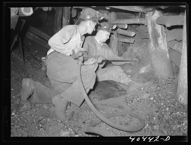 Shenandoah, Pennsylvania. Renick and Gladski, two miners drilling to set a blast in Maple Hill mine tunnel twenty-nine