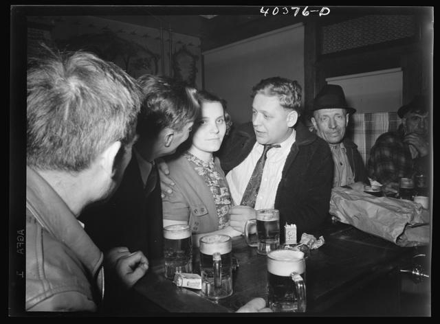 Shenandoah, Pennsylvania. Some men and a woman at Filipek's bar