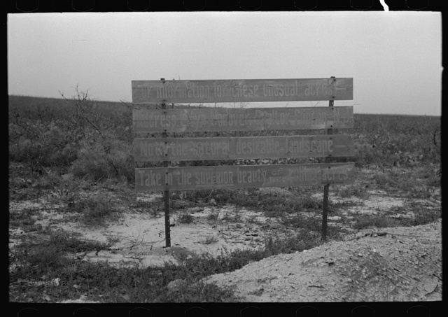 Sign advertising land for farm purposes, pine area, New Jersey