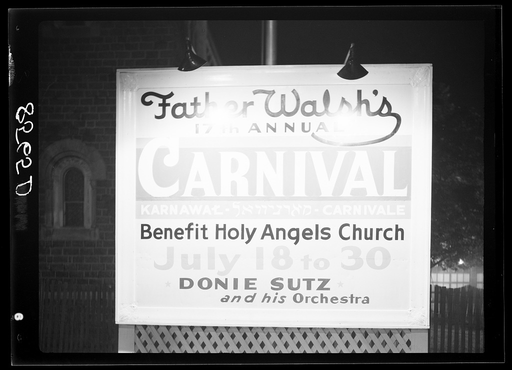 Sign at Father Walsh's carnival. Trenton, New Jersey
