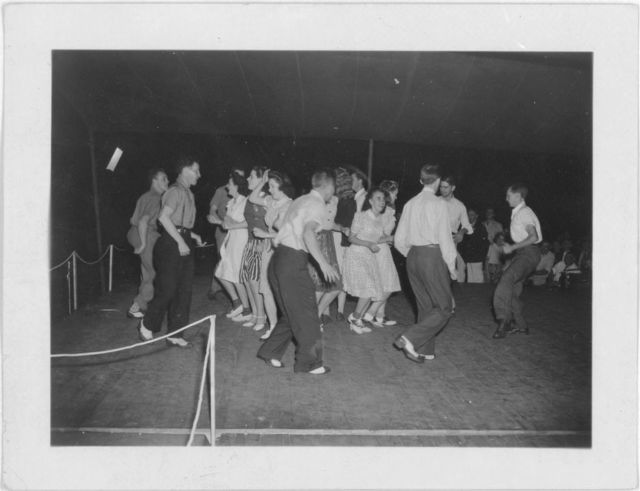 [Soco Gap Junior Square Dance Team dancing at the Mountain Music Festival, Asheville, North Carolina]