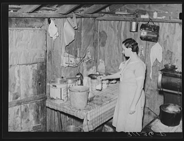 Southeast Missouri Farms. Corner of kitchen, sharecropper's shack. La Forge project, Missouri