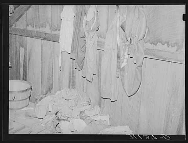 Southeast Missouri Farms. Part of attic bedroom, sharecropper's shack. La Forge project, Missouri