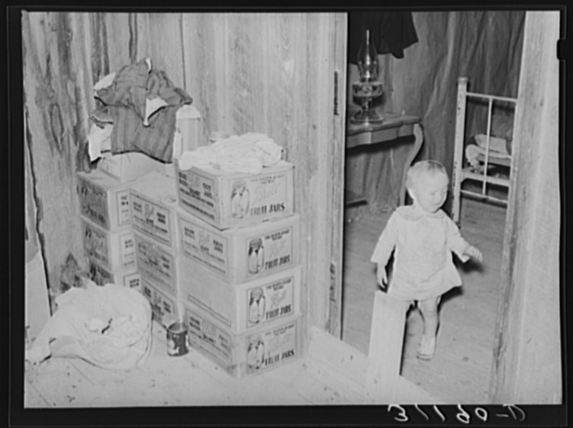 Southeast Missouri Farms. Photograph showing combination storage room and chick room adjacent to bedroom