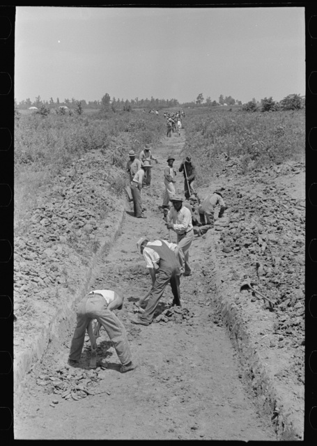 Southeast Missouri Farms Project. Constructing drainage ditch on the project