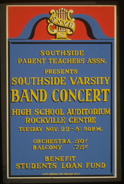 Southside Parent Teachers Assn. presents Southside Varsity Band concert, high school auditorium, Rockville Centre Benefit students loan fund.