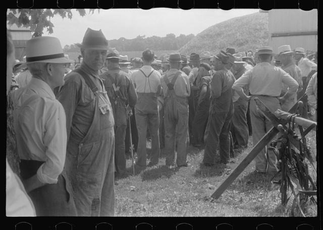 Spectators at public auction, central Ohio