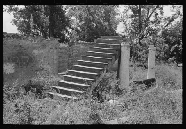 Stairs and columns with brick masonry, remains of plantation house after fire, near Lutcher, Louisiana