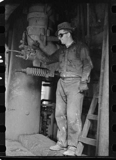 Steelworker at blast furnace, Pittsburgh, Pennsylvania