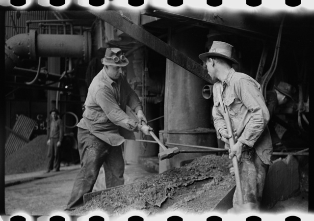 Tapping a blast furnace for slag, Pittsburgh, Pennsylvania