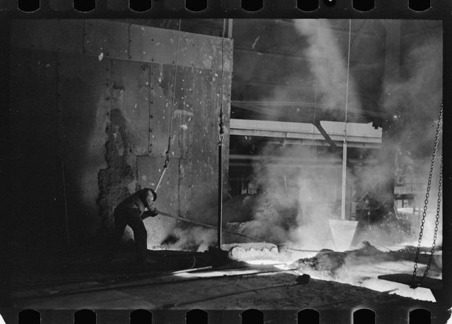 Tapping a blast furnace, Pittsburgh, Pennsylvania