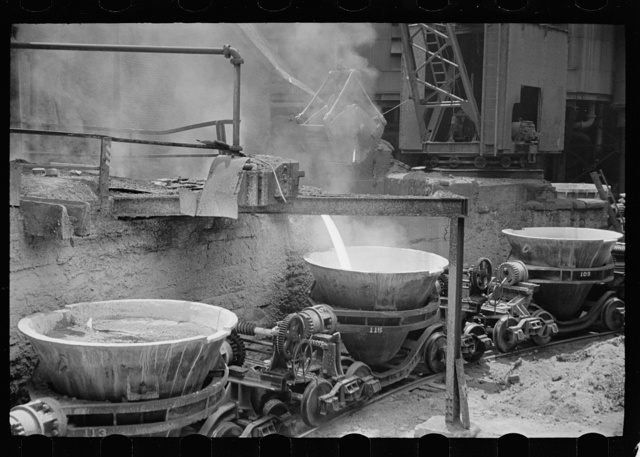 Tapping the slag at a blast furnace, Pittsburgh, Pennsylvania