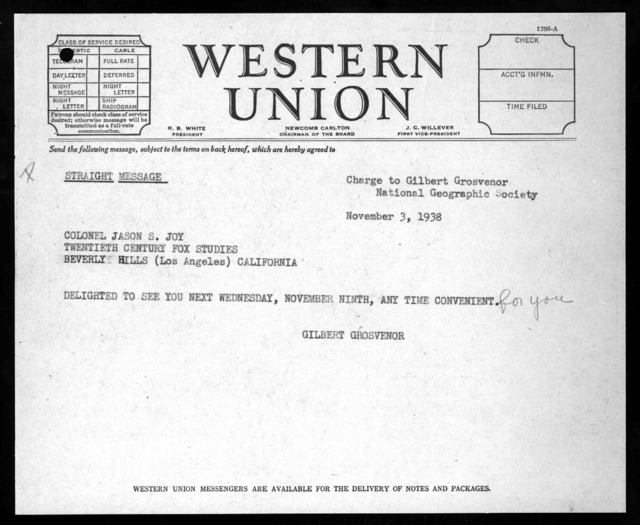 Telegram from Gilbert Hovey Grosvenor to Jason S. Joy, November 3, 1938
