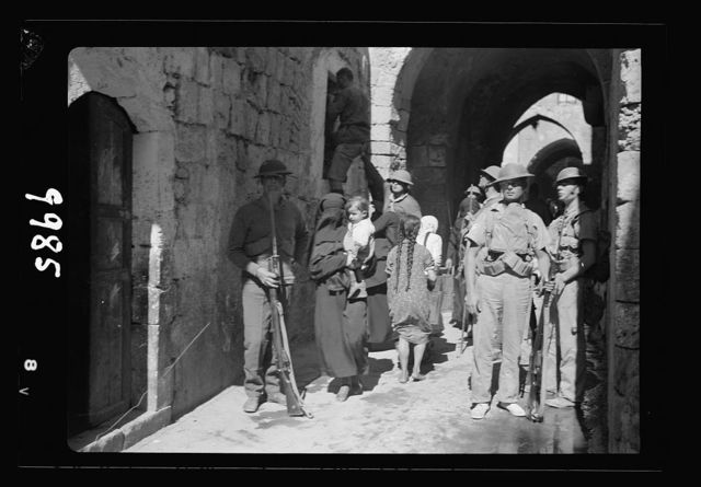 The raising of the siege of Jerusalem. Scene in the Old City narrow streets