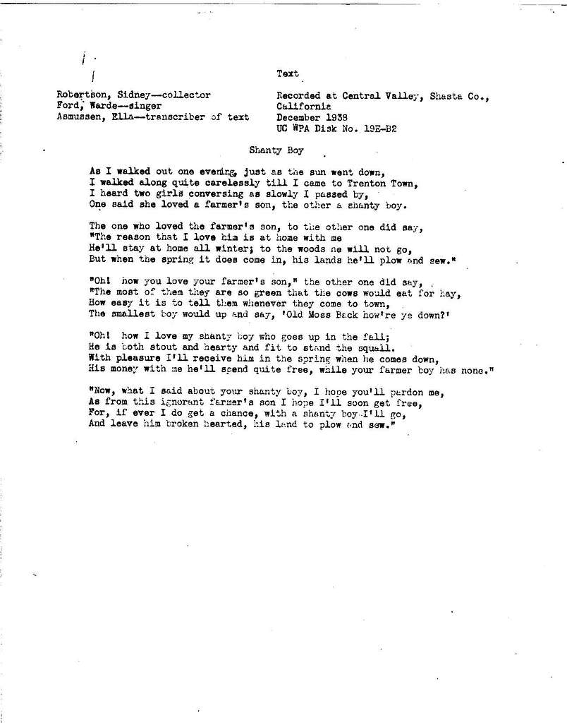 The Shanty boy textual transcriptions with notes