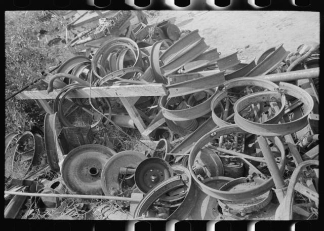 Tire rims at junkyard, Abbeville, Louisiana