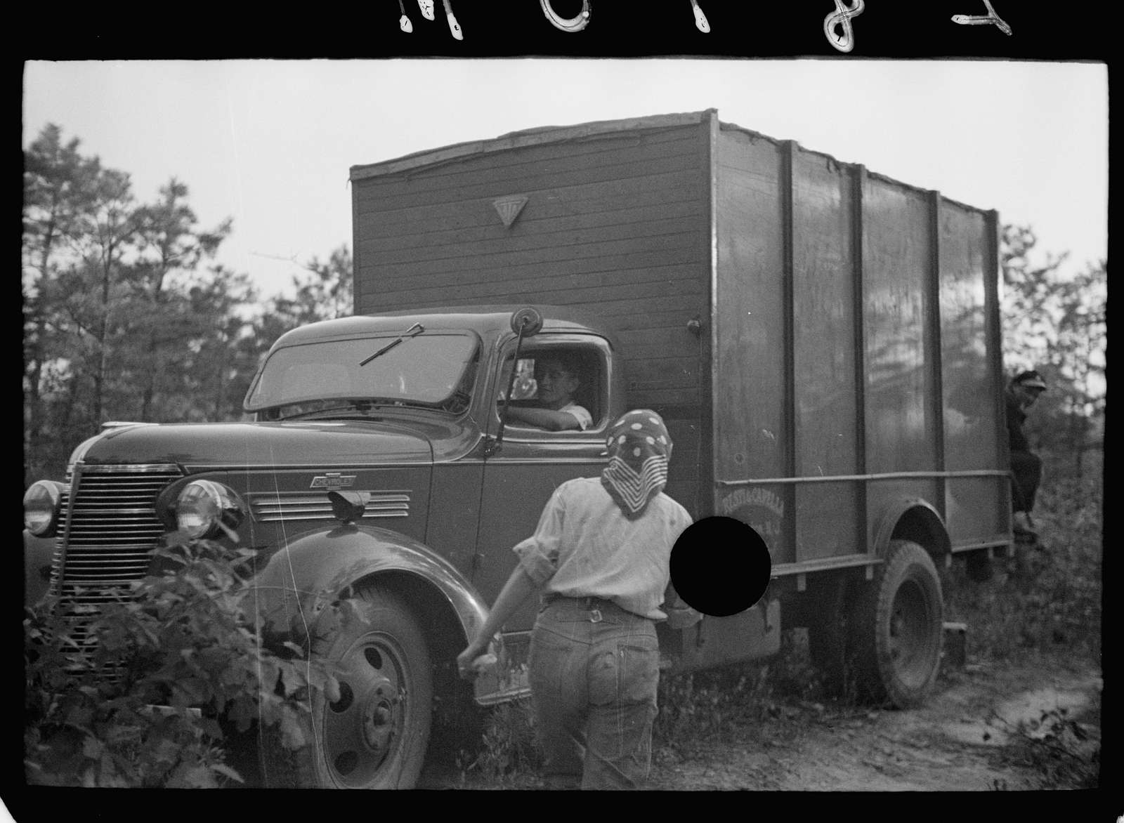 Untitled photo, possibly related to: Cranberry pickers from Philadelphia on labor contractor's truck, Burlington County, New Jersey